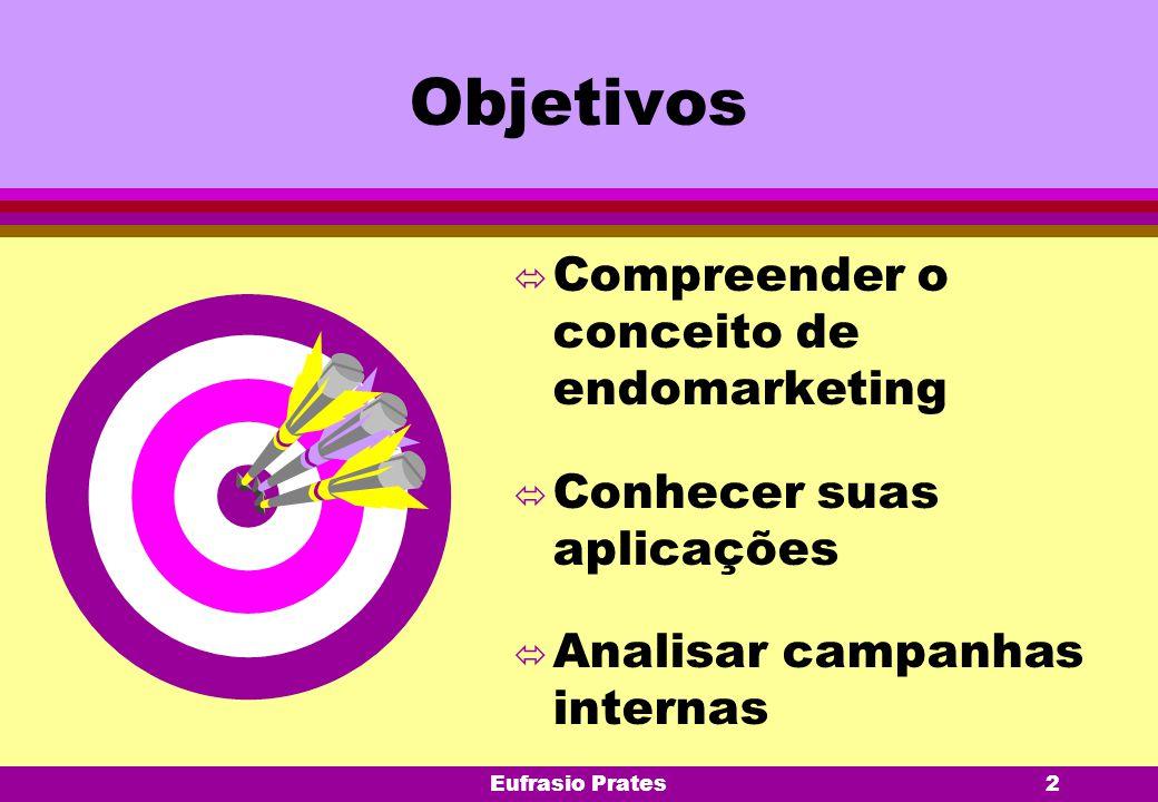 Eufrasio Prates2 Objetivos ó Compreender o conceito de endomarketing ó Conhecer suas aplicações ó Analisar campanhas internas