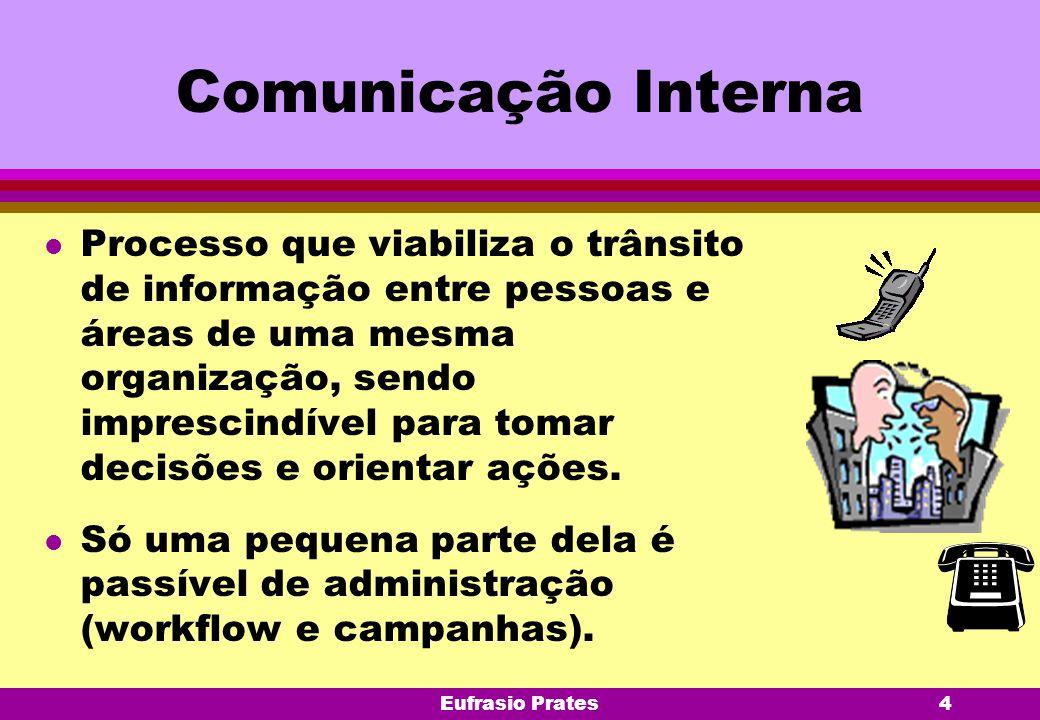 Eufrasio Prates4 Comunicação Interna l Processo que viabiliza o trânsito de informação entre pessoas e áreas de uma mesma organização, sendo imprescin