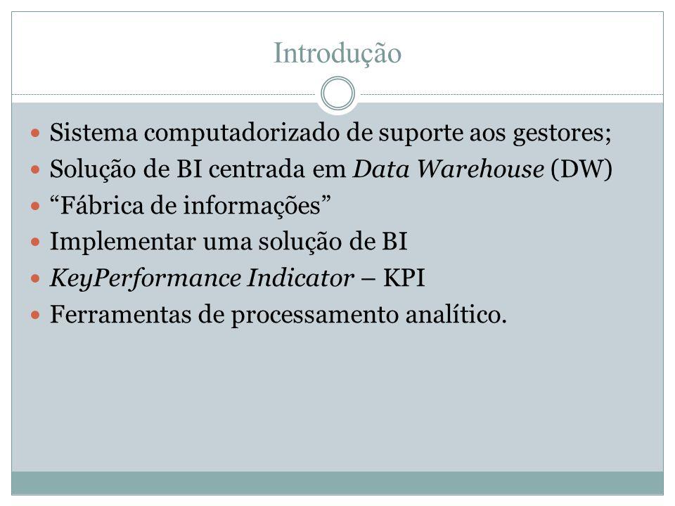 """Introdução  Sistema computadorizado de suporte aos gestores;  Solução de BI centrada em Data Warehouse (DW)  """"Fábrica de informações""""  Implementar"""