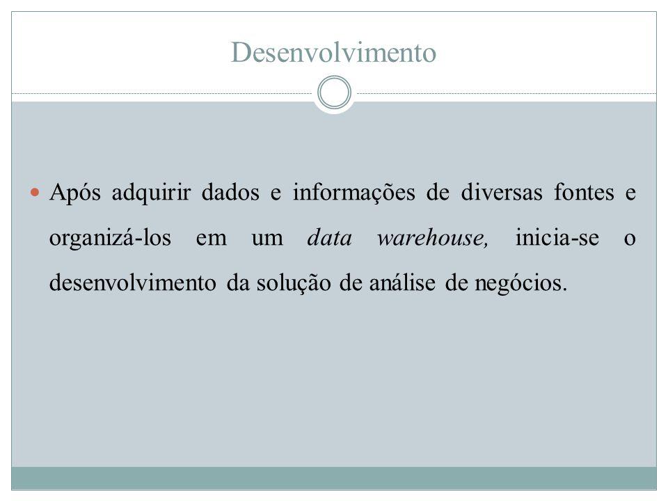 Desenvolvimento  Após adquirir dados e informações de diversas fontes e organizá-los em um data warehouse, inicia-se o desenvolvimento da solução de
