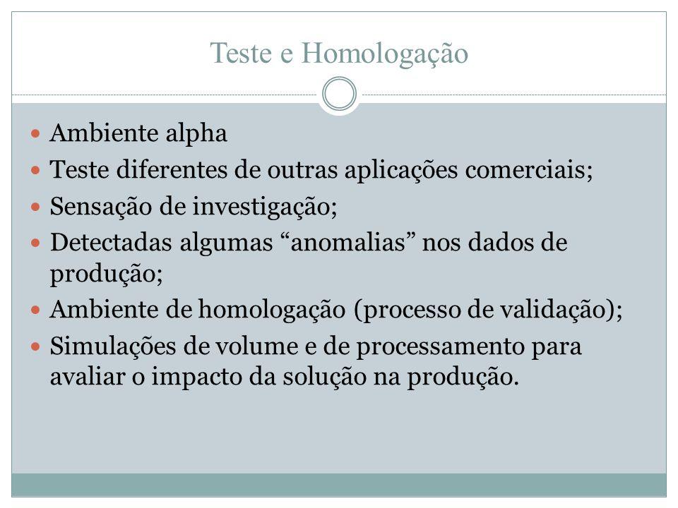 """Teste e Homologação  Ambiente alpha  Teste diferentes de outras aplicações comerciais;  Sensação de investigação;  Detectadas algumas """"anomalias"""""""