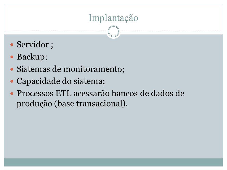 Implantação  Servidor ;  Backup;  Sistemas de monitoramento;  Capacidade do sistema;  Processos ETL acessarão bancos de dados de produção (base t