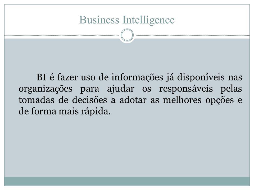 Business Intelligence BI é fazer uso de informações já disponíveis nas organizações para ajudar os responsáveis pelas tomadas de decisões a adotar as