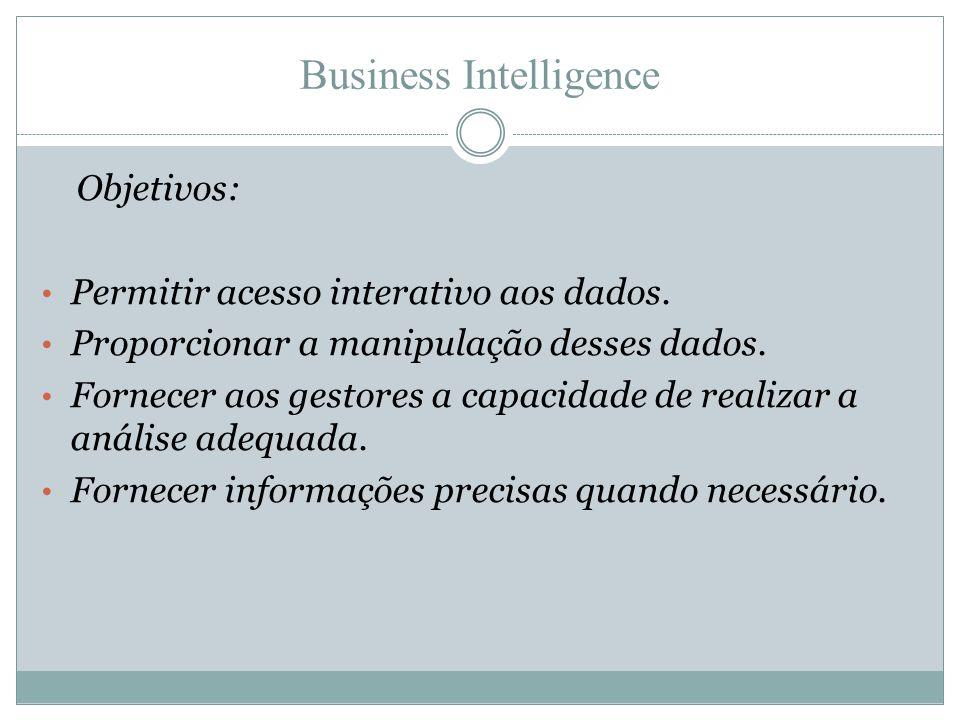 Business Intelligence Objetivos: • Permitir acesso interativo aos dados. • Proporcionar a manipulação desses dados. • Fornecer aos gestores a capacida