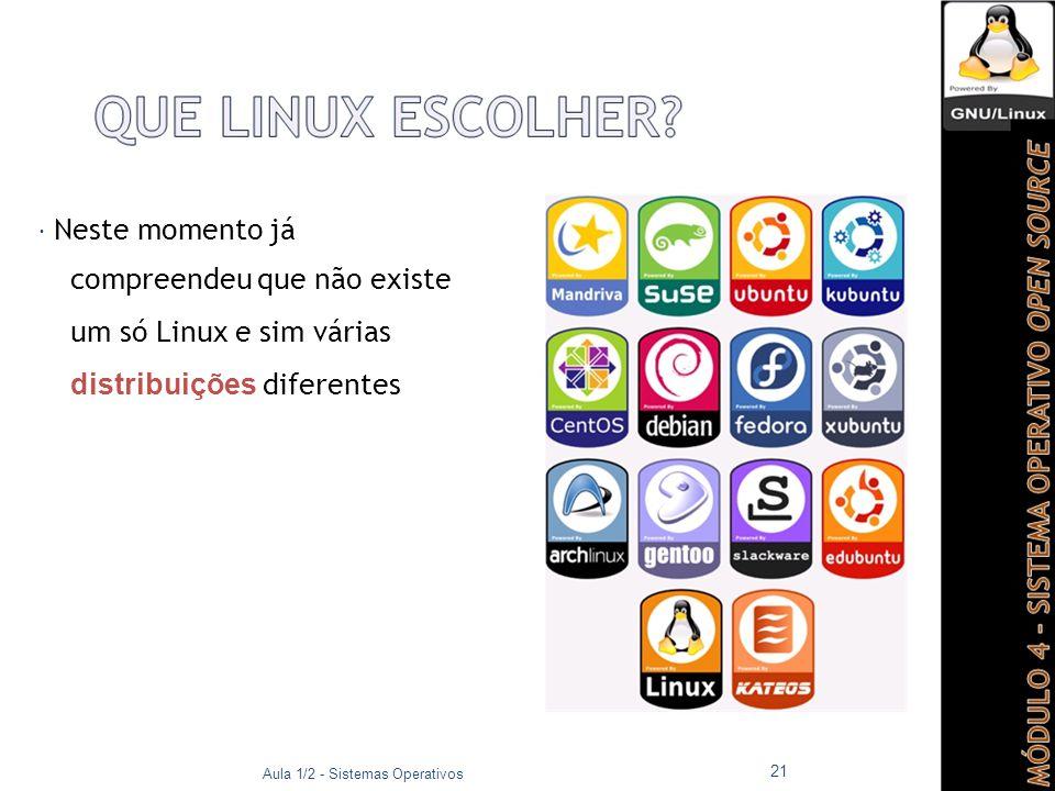  Neste momento já compreendeu que não existe um só Linux e sim várias distribuições diferentes Aula 1/2 - Sistemas Operativos 21