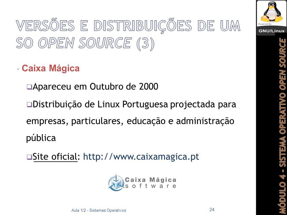  Caixa Mágica  Apareceu em Outubro de 2000  Distribuição de Linux Portuguesa projectada para empresas, particulares, educação e administração pública  Site oficial: http://www.caixamagica.pt Aula 1/2 - Sistemas Operativos 24
