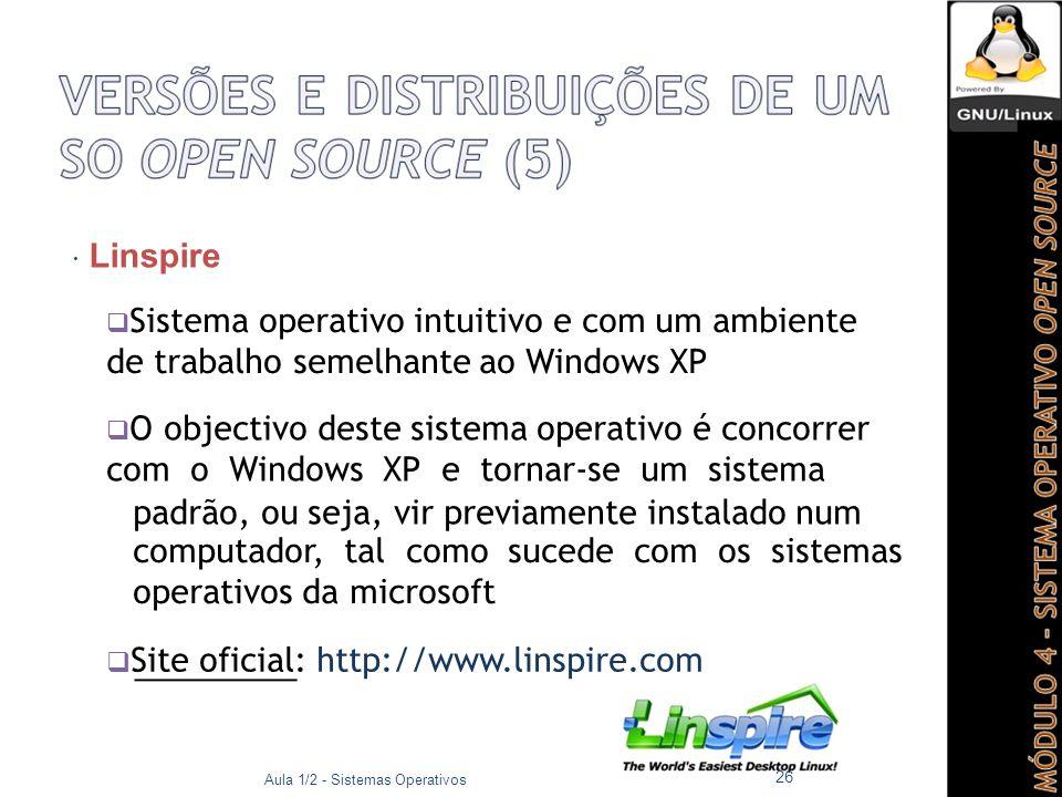  Linspire  Sistema operativo intuitivo e com um ambiente de trabalho semelhante ao Windows XP  O objectivo deste sistema operativo é concorrer com o Windows XP e tornar-se um sistema padrão, ou seja, vir previamente instalado num computador, tal como sucede com os sistemas operativos da microsoft  Site oficial: http://www.linspire.com Aula 1/2 - Sistemas Operativos 26