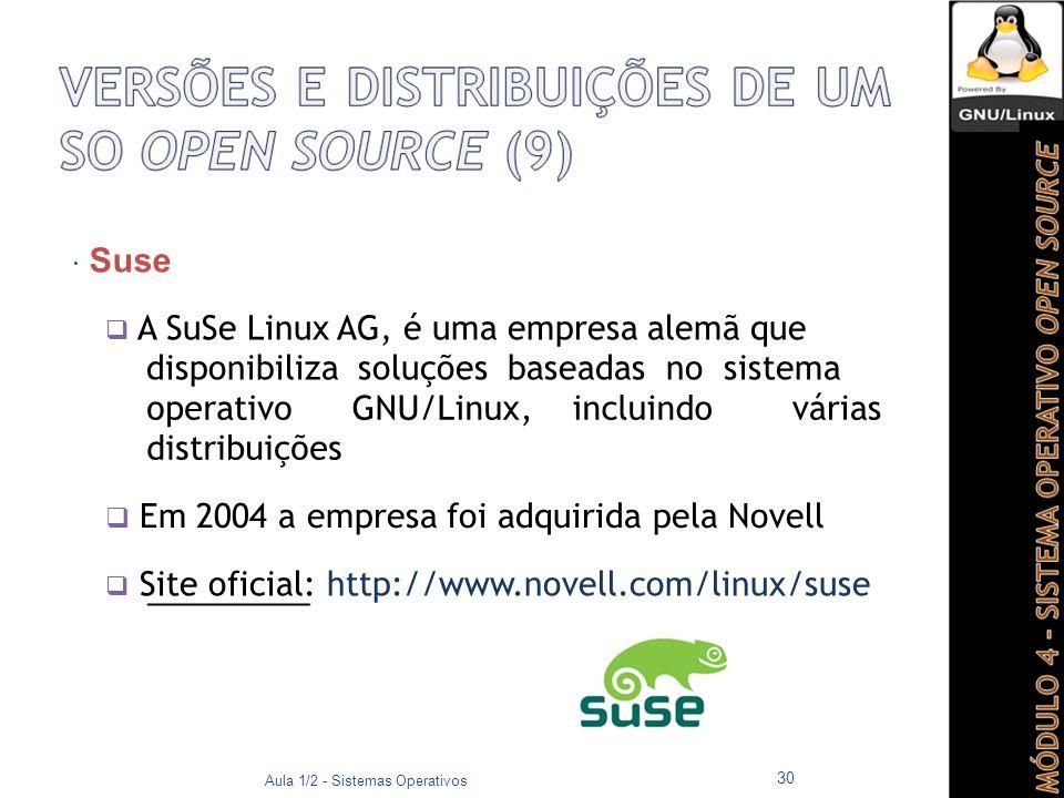  Suse  A SuSe Linux AG, é uma empresa alemã que disponibiliza soluções baseadas no sistema operativoGNU/Linux, incluindovárias distribuições  Em 2004 a empresa foi adquirida pela Novell  Site oficial: http://www.novell.com/linux/suse Aula 1/2 - Sistemas Operativos 30