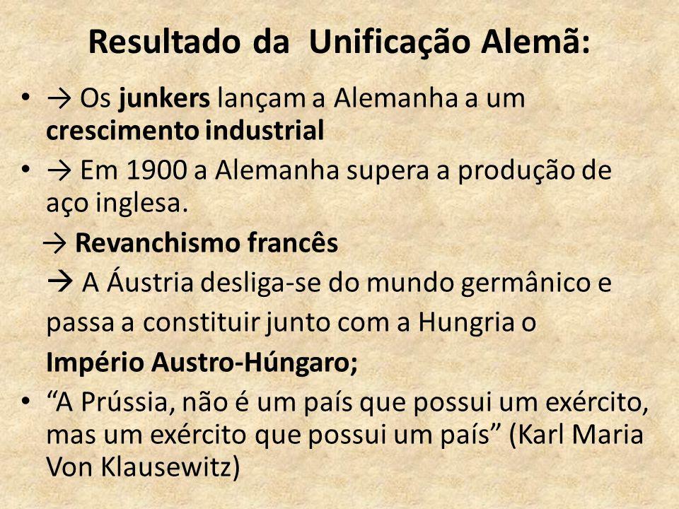 Resultado da Unificação Alemã: • → Os junkers lançam a Alemanha a um crescimento industrial • → Em 1900 a Alemanha supera a produção de aço inglesa. →