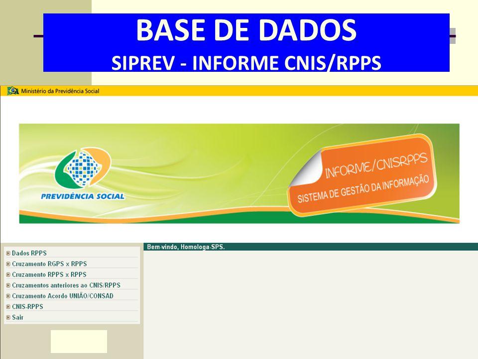 06/06/13 BASE DE DADOS SIPREV - INFORME CNIS/RPPS