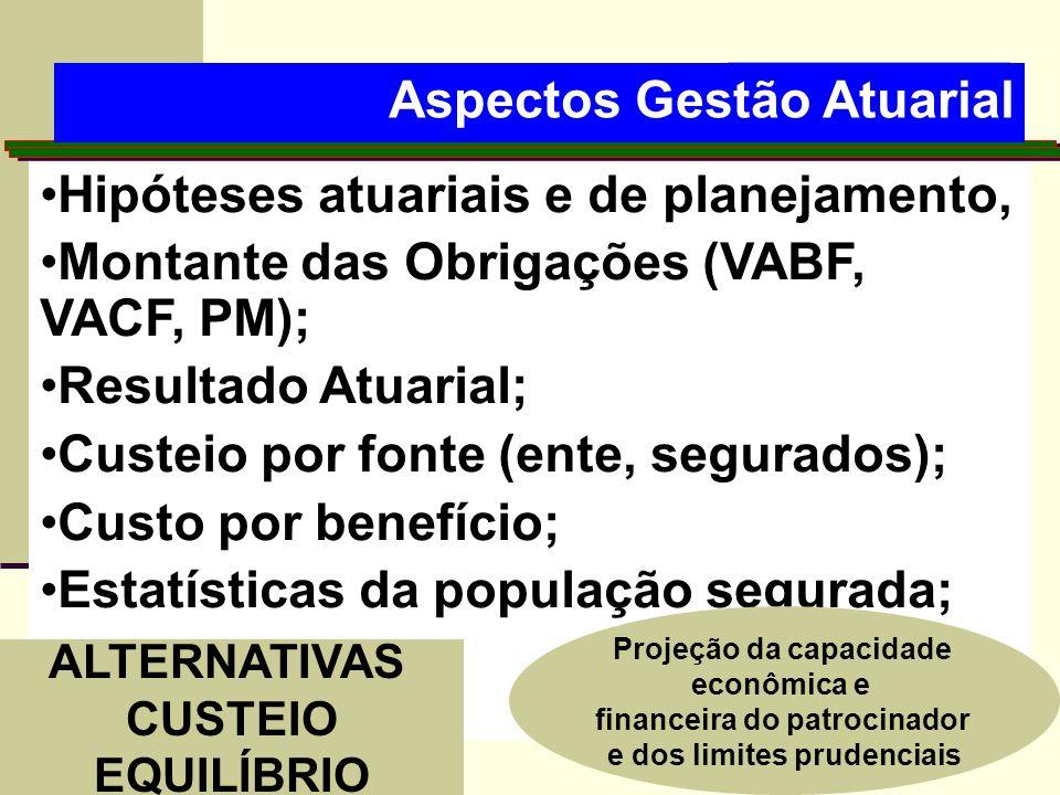 •Hipóteses atuariais e de planejamento, •Montante das Obrigações (VABF, VACF, PM); •Resultado Atuarial; •Custeio por fonte (ente, segurados); •Custo p