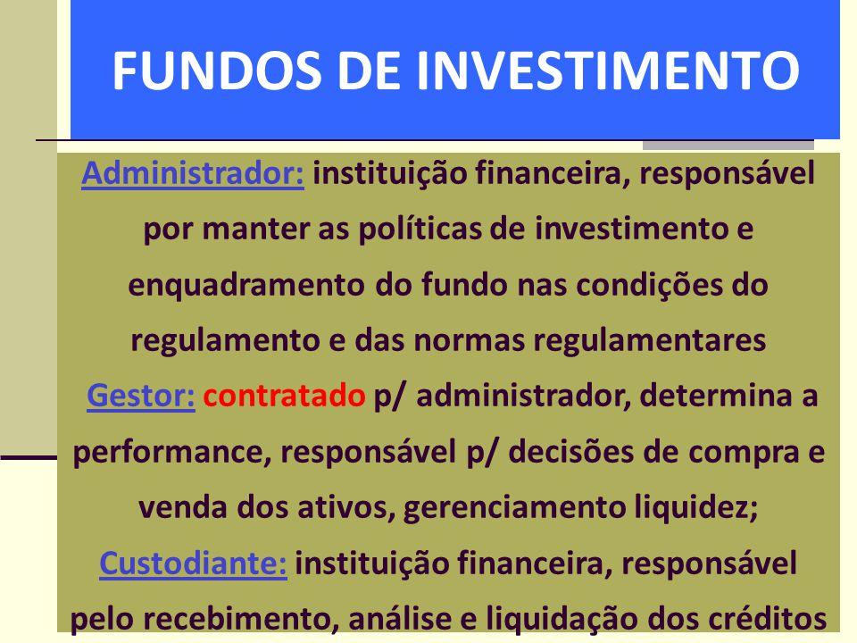 FUNDOS DE INVESTIMENTO Administrador: instituição financeira, responsável por manter as políticas de investimento e enquadramento do fundo nas condiçõ