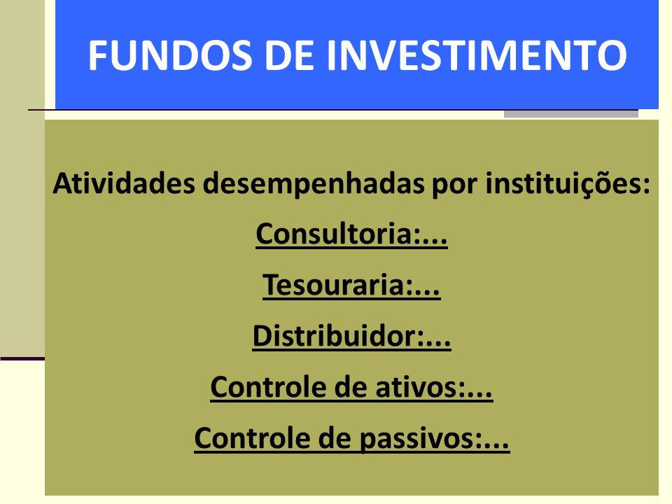 FUNDOS DE INVESTIMENTO Atividades desempenhadas por instituições: Consultoria:... Tesouraria:... Distribuidor:... Controle de ativos:... Controle de p