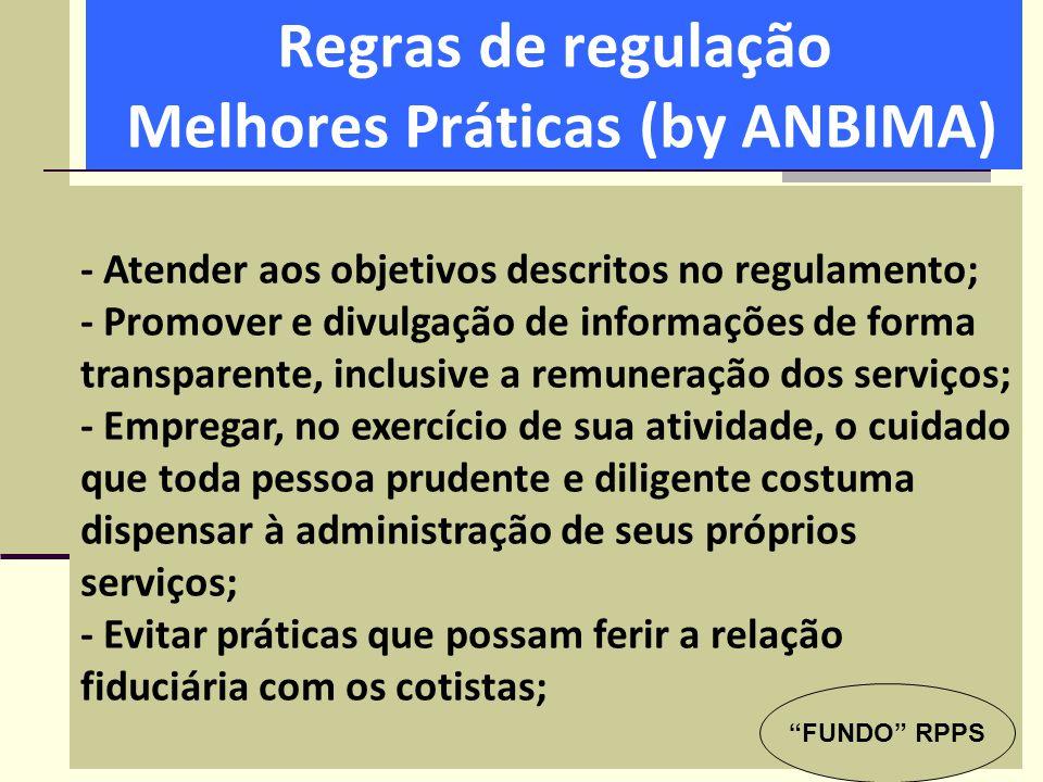 Regras de regulação Melhores Práticas (by ANBIMA) - Atender aos objetivos descritos no regulamento; - Promover e divulgação de informações de forma tr