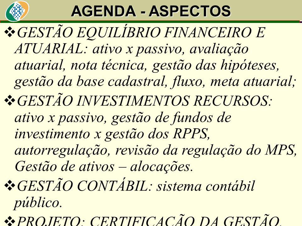 AGENDA - ASPECTOS Art. 40. O servidor será aposentado:....  GESTÃO EQUILÍBRIO FINANCEIRO E ATUARIAL: ativo x passivo, avaliação atuarial, nota técnic