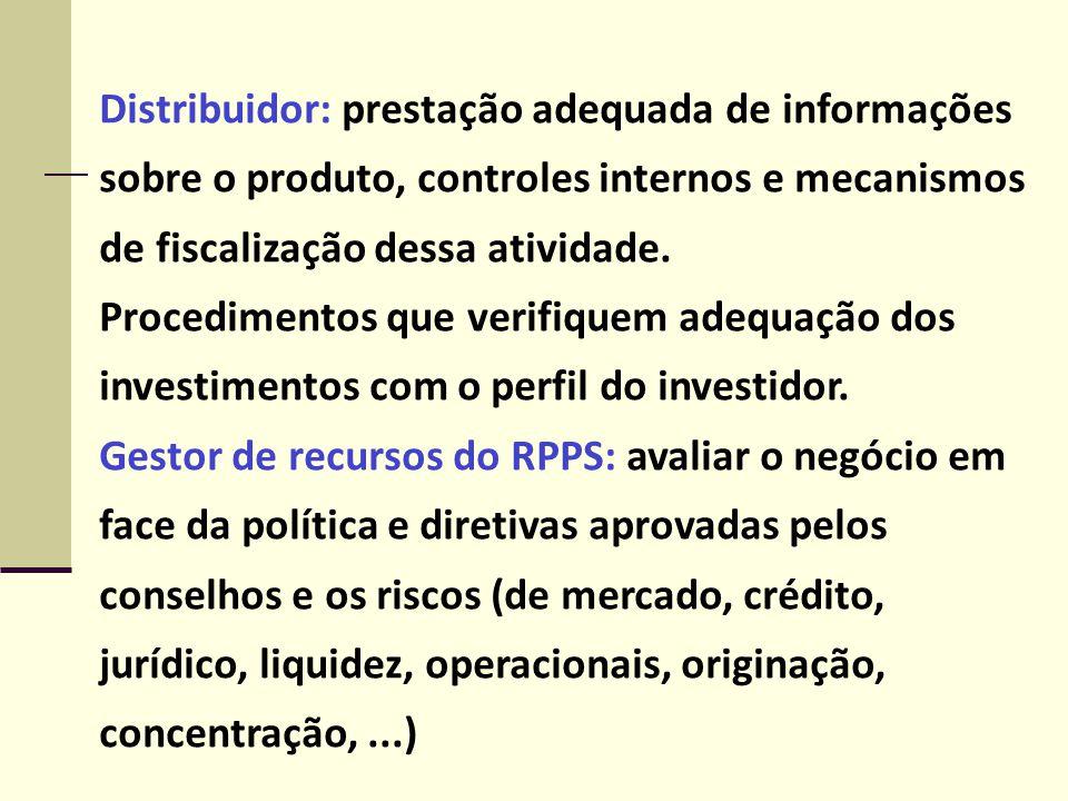 Distribuidor: prestação adequada de informações sobre o produto, controles internos e mecanismos de fiscalização dessa atividade. Procedimentos que ve