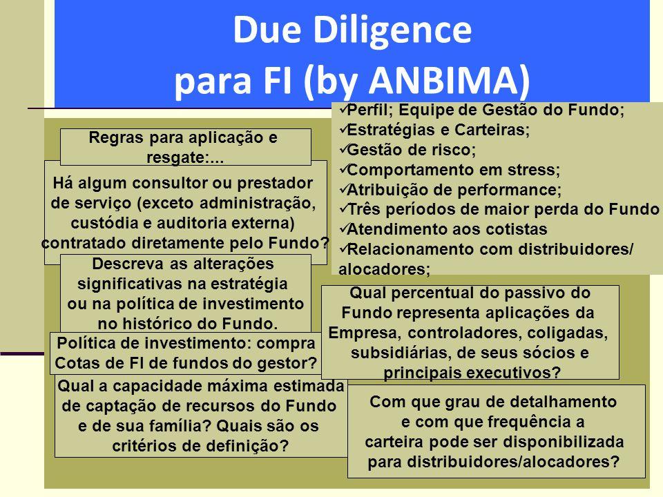 Due Diligence para FI (by ANBIMA)  Perfil; Equipe de Gestão do Fundo;  Estratégias e Carteiras;  Gestão de risco;  Comportamento em stress;  Atri