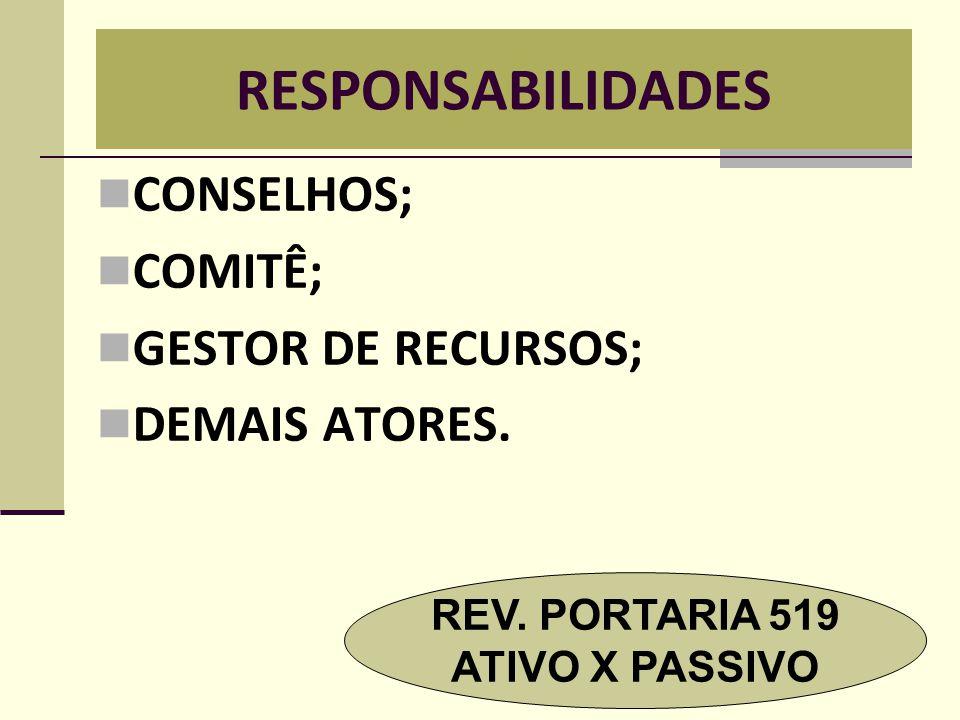 RESPONSABILIDADES  CONSELHOS;  COMITÊ;  GESTOR DE RECURSOS;  DEMAIS ATORES. REV. PORTARIA 519 ATIVO X PASSIVO