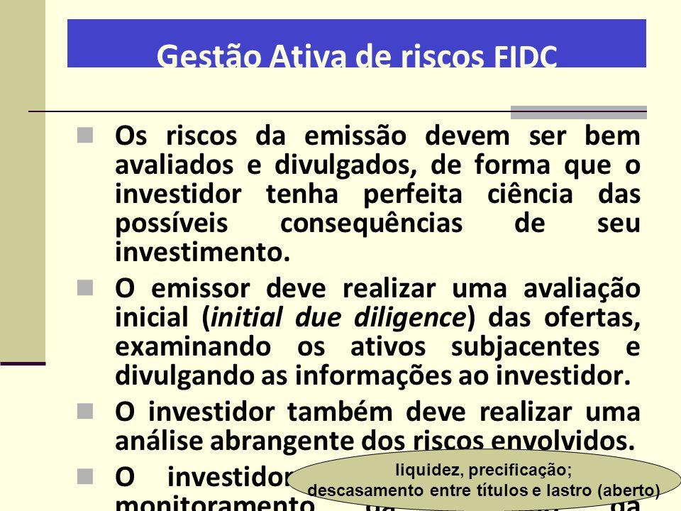 Gestão Ativa de riscos FIDC  Os riscos da emissão devem ser bem avaliados e divulgados, de forma que o investidor tenha perfeita ciência das possívei