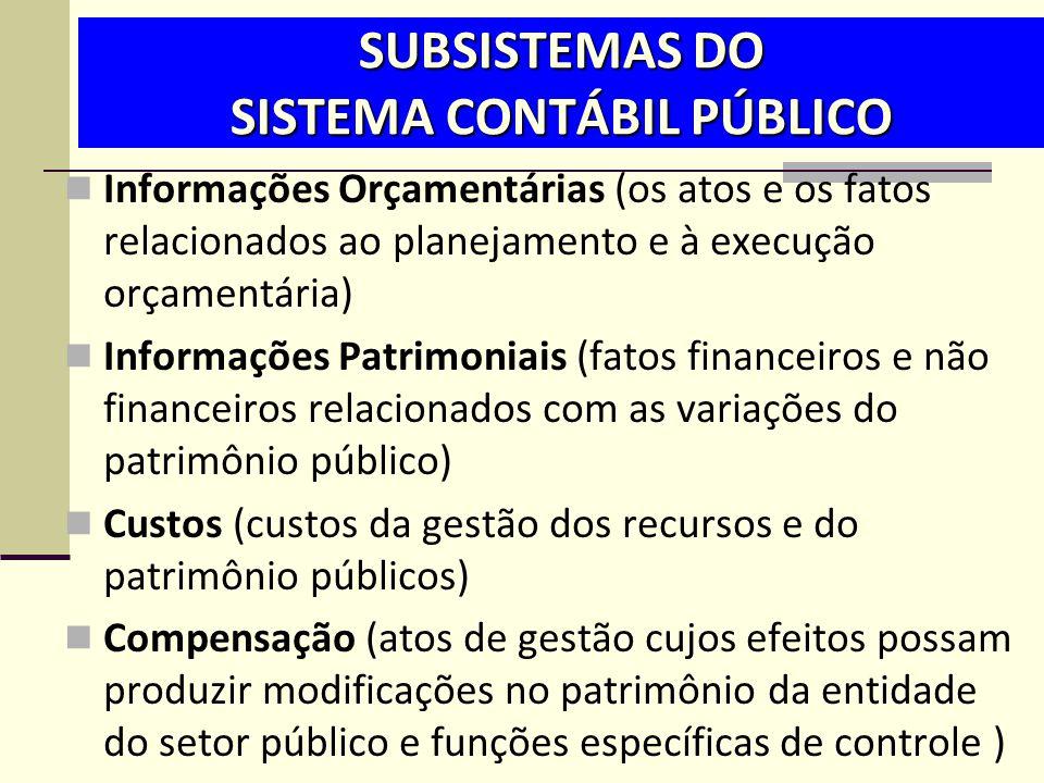 SUBSISTEMAS DO SISTEMA CONTÁBIL PÚBLICO  Informações Orçamentárias (os atos e os fatos relacionados ao planejamento e à execução orçamentária)  Info