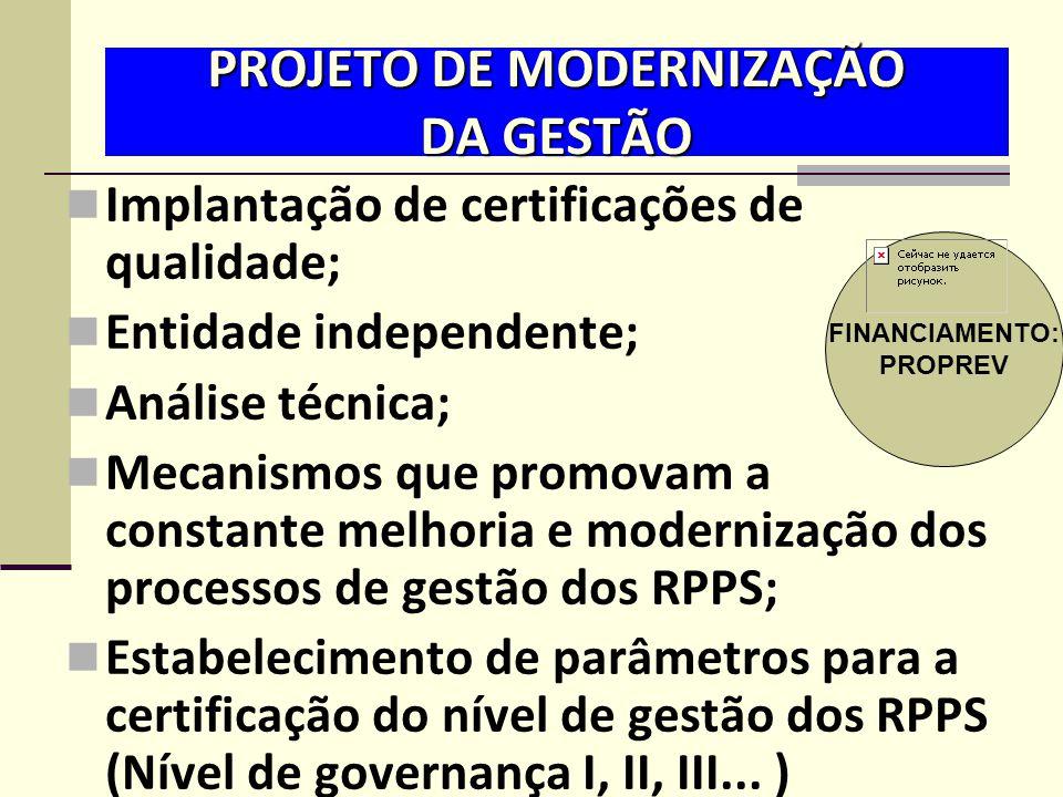 PROJETO DE MODERNIZAÇÃO DA GESTÃO  Implantação de certificações de qualidade;  Entidade independente;  Análise técnica;  Mecanismos que promovam a