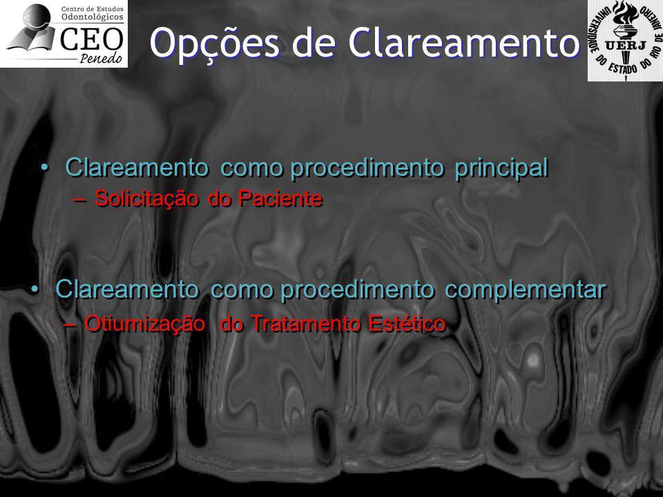 Opções de Clareamento •Clareamento como procedimento principal –Solicitação do Paciente •Clareamento como procedimento principal –Solicitação do Pacie