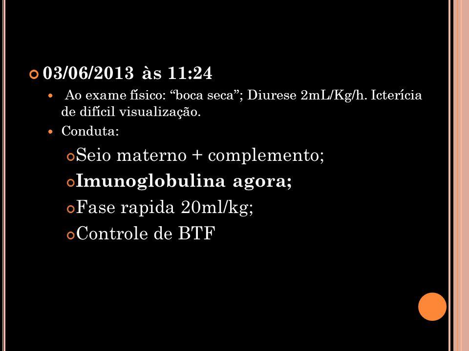 """03/06/2013 às 11:24  Ao exame físico: """"boca seca""""; Diurese 2mL/Kg/h. Icterícia de difícil visualização.  Conduta: Seio materno + complemento; Imunog"""