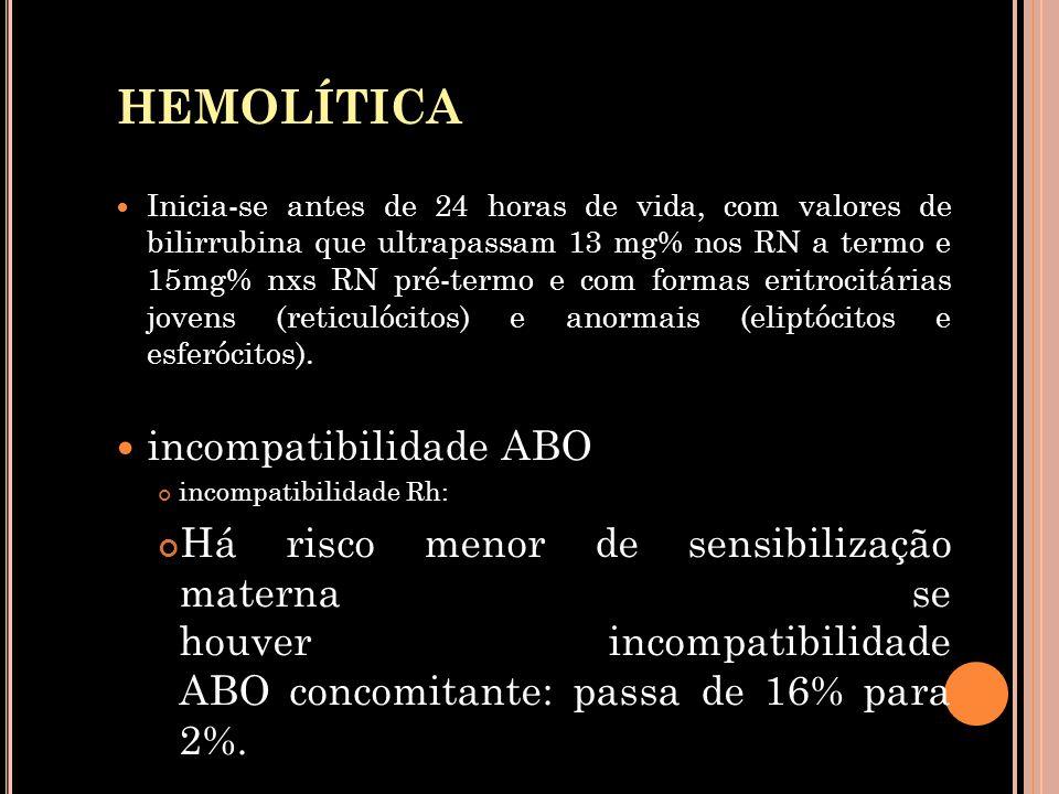HEMOLÍTICA  Inicia-se antes de 24 horas de vida, com valores de bilirrubina que ultrapassam 13 mg% nos RN a termo e 15mg% nxs RN pré-termo e com form
