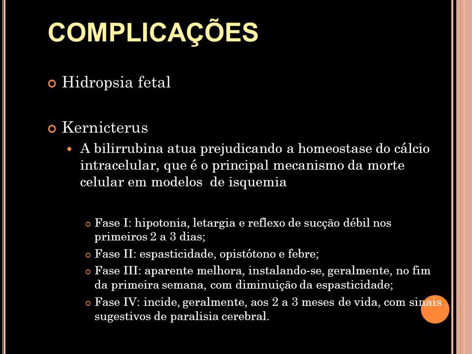 Hidropsia fetal Kernicterus  A bilirrubina atua prejudicando a homeostase do cálcio intracelular, que é o principal mecanismo da morte celular em mod