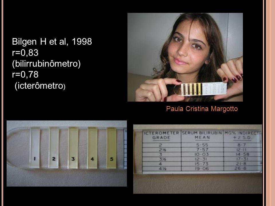 ICTERÔMETRO Paula Cristina Margotto Bilgen H et al, 1998 r=0,83 (bilirrubinômetro) r=0,78 (icterômetro )