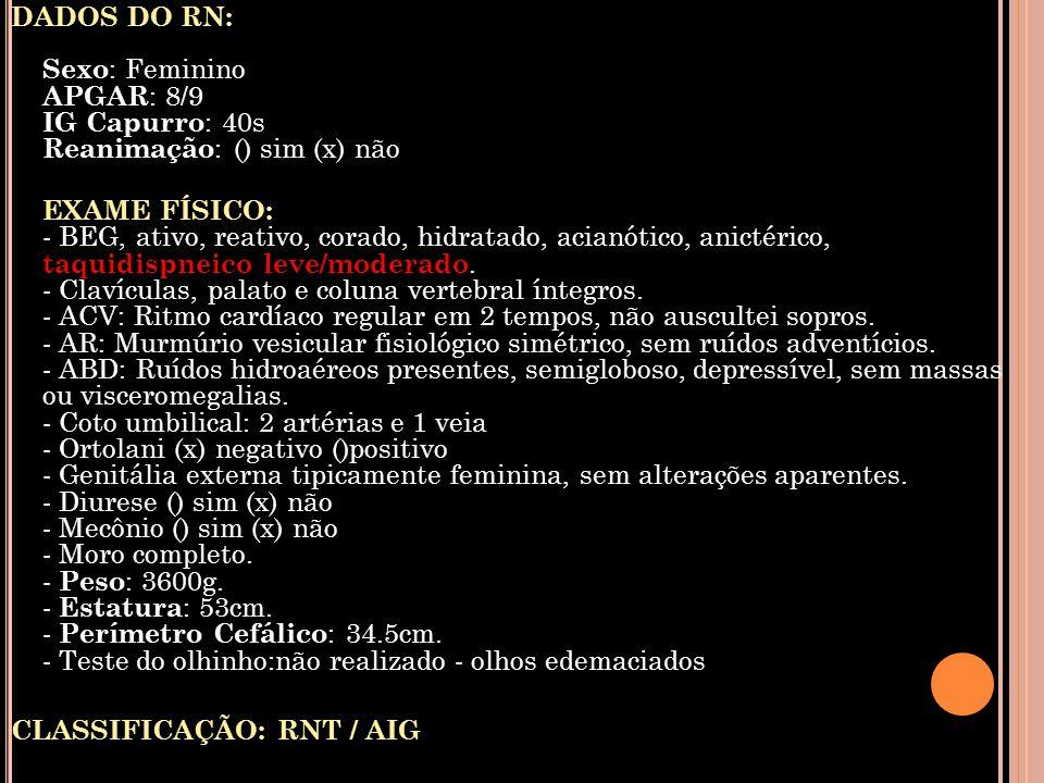 DADOS DO RN: Sexo : Feminino APGAR : 8/9 IG Capurro : 40s Reanimação : () sim (x) não EXAME FÍSICO: - BEG, ativo, reativo, corado, hidratado, acianóti