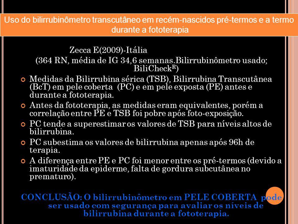 Zecca E(2009)-Itália (364 RN, média de IG 34,6 semanas.Bilirrubinômetro usado; BiliCheck R ) Medidas da Bilirrubina sérica (TSB), Bilirrubina Transcut