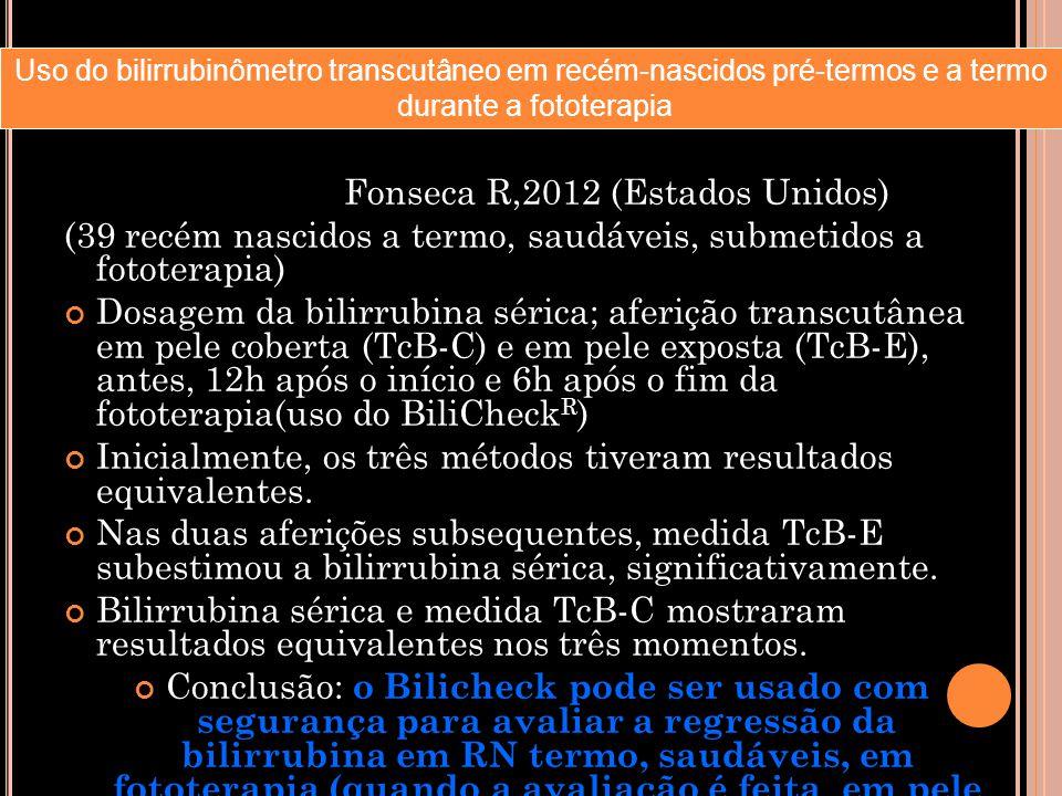 Fonseca R,2012 (Estados Unidos) (39 recém nascidos a termo, saudáveis, submetidos a fototerapia) Dosagem da bilirrubina sérica; aferição transcutânea