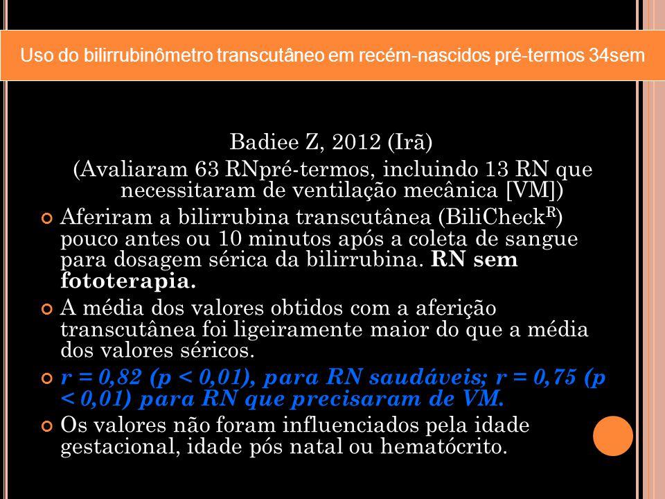 Badiee Z, 2012 (Irã) (Avaliaram 63 RNpré-termos, incluindo 13 RN que necessitaram de ventilação mecânica [VM]) Aferiram a bilirrubina transcutânea (Bi
