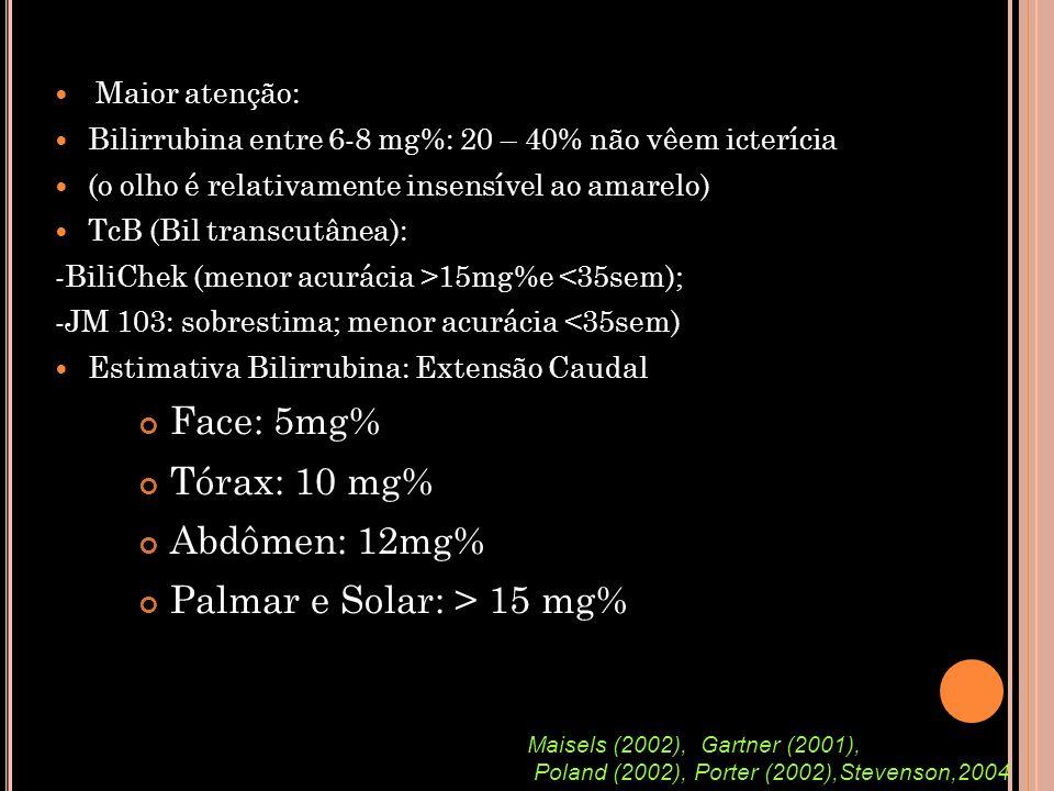  Maior atenção:  Bilirrubina entre 6-8 mg%: 20 – 40% não vêem icterícia  (o olho é relativamente insensível ao amarelo)  TcB (Bil transcutânea): -