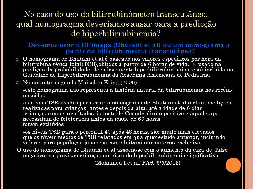No caso do uso do bilirrubinômetro transcutâneo, qual nomogragma deveríamos ausar para a predicção de hiperbilirrubinemia? Devemos usar o Bilimapa (Bh
