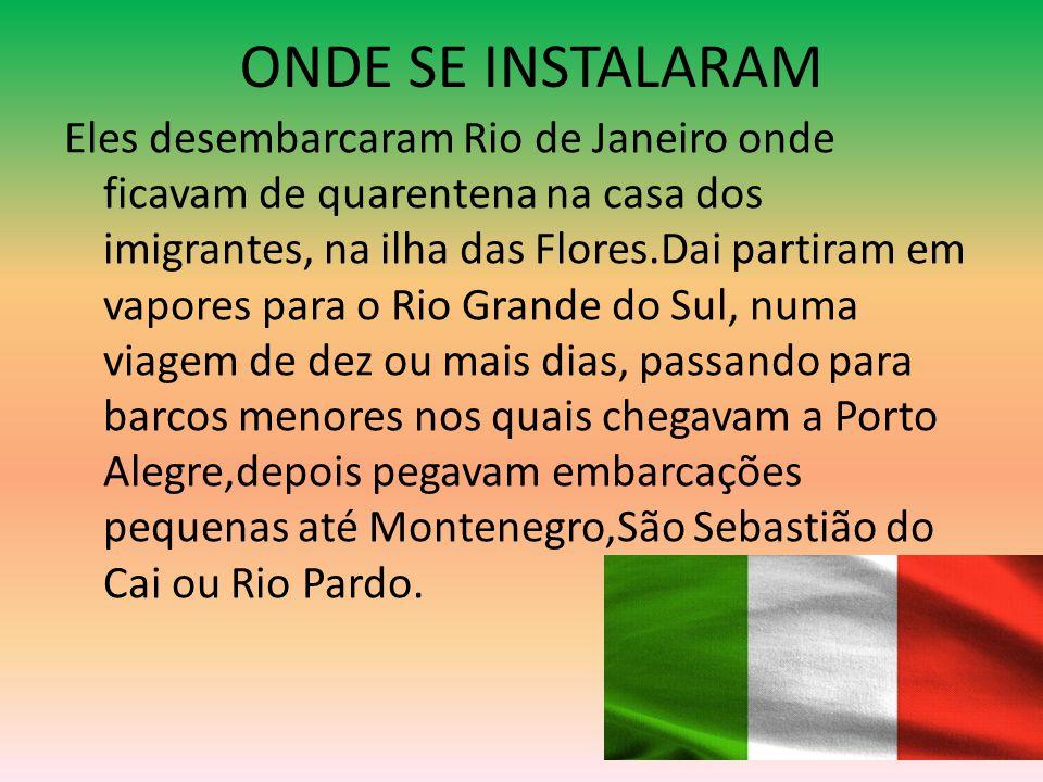 ONDE SE INSTALARAM Eles desembarcaram Rio de Janeiro onde ficavam de quarentena na casa dos imigrantes, na ilha das Flores.Dai partiram em vapores par