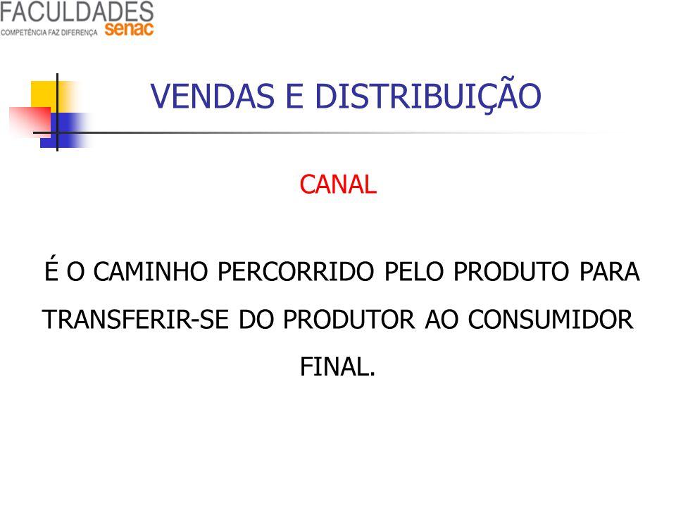 VENDAS E DISTRIBUIÇÃO CANAL É O CAMINHO PERCORRIDO PELO PRODUTO PARA TRANSFERIR-SE DO PRODUTOR AO CONSUMIDOR FINAL.