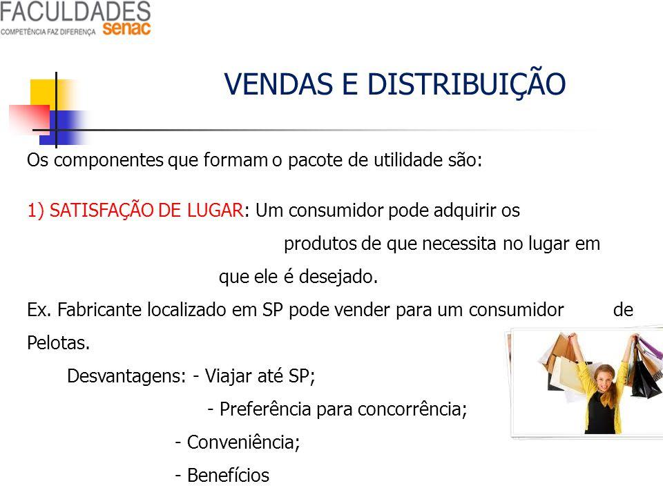 VENDAS E DISTRIBUIÇÃO Os componentes que formam o pacote de utilidade são: 1) SATISFAÇÃO DE LUGAR: Um consumidor pode adquirir os produtos de que nece