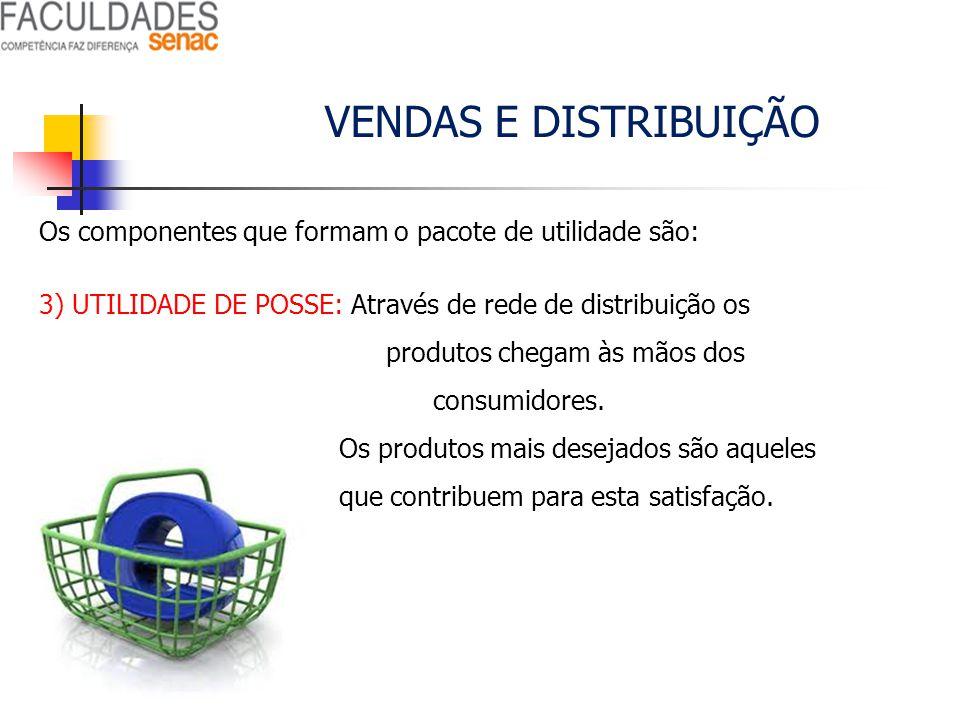 VENDAS E DISTRIBUIÇÃO Os componentes que formam o pacote de utilidade são: 3) UTILIDADE DE POSSE: Através de rede de distribuição os produtos chegam à