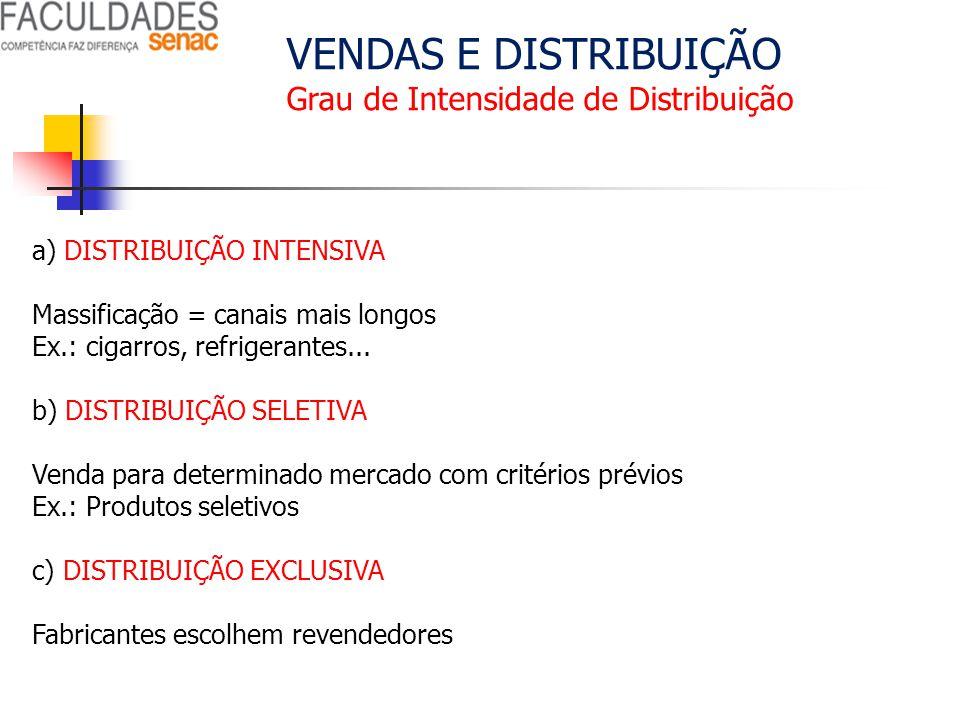VENDAS E DISTRIBUIÇÃO Grau de Intensidade de Distribuição a) DISTRIBUIÇÃO INTENSIVA Massificação = canais mais longos Ex.: cigarros, refrigerantes...