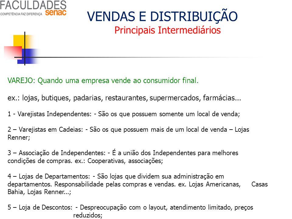 VENDAS E DISTRIBUIÇÃO Principais Intermediários VAREJO: Quando uma empresa vende ao consumidor final. ex.: lojas, butiques, padarias, restaurantes, su
