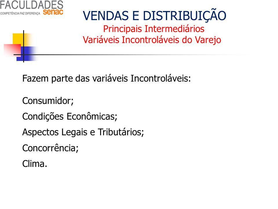VENDAS E DISTRIBUIÇÃO Principais Intermediários Variáveis Incontroláveis do Varejo Fazem parte das variáveis Incontroláveis: Consumidor; Condições Eco