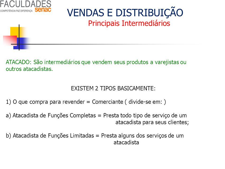 VENDAS E DISTRIBUIÇÃO Principais Intermediários ATACADO: São intermediários que vendem seus produtos a varejistas ou outros atacadistas. EXISTEM 2 TIP