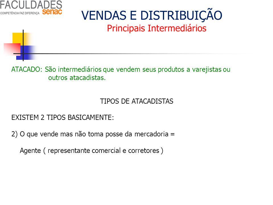 VENDAS E DISTRIBUIÇÃO Principais Intermediários ATACADO: São intermediários que vendem seus produtos a varejistas ou outros atacadistas. TIPOS DE ATAC