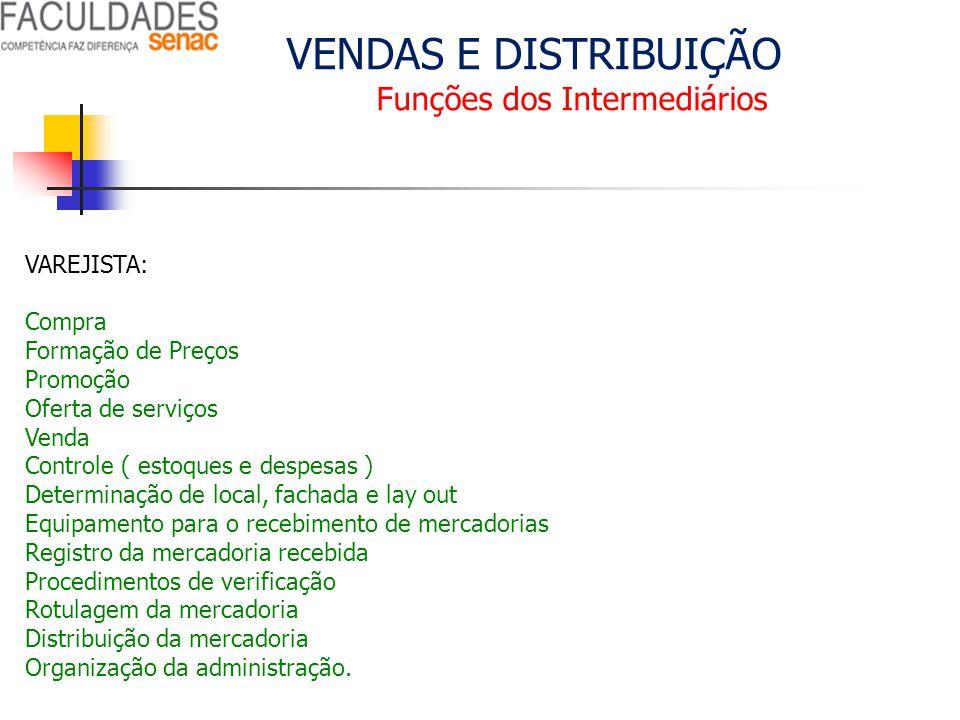 VENDAS E DISTRIBUIÇÃO Funções dos Intermediários VAREJISTA: Compra Formação de Preços Promoção Oferta de serviços Venda Controle ( estoques e despesas