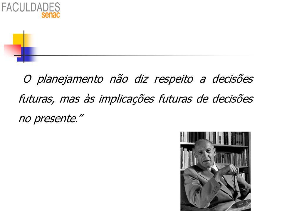"""""""O planejamento não diz respeito a decisões futuras, mas às implicações futuras de decisões no presente."""" Peter Drucker"""