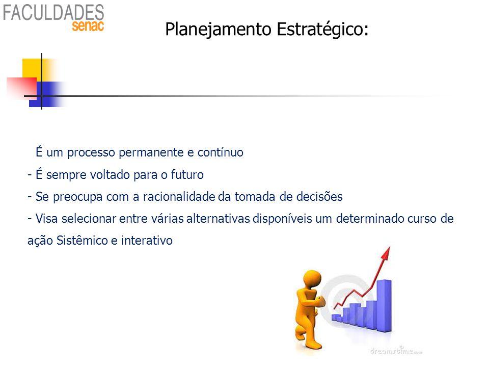 Planejamento Estratégico: - É um processo permanente e contínuo - É sempre voltado para o futuro - Se preocupa com a racionalidade da tomada de decisõ