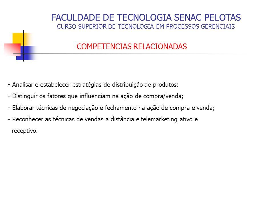 FACULDADE DE TECNOLOGIA SENAC PELOTAS CURSO SUPERIOR DE TECNOLOGIA EM PROCESSOS GERENCIAIS BASES TECNOLÓGICAS - Estratégias de distribuição de produtos; - O ato de compra e venda; - Negociação de compra e venda; - Prática de vendas a distância; - Simulação prática do ato de compra e venda.