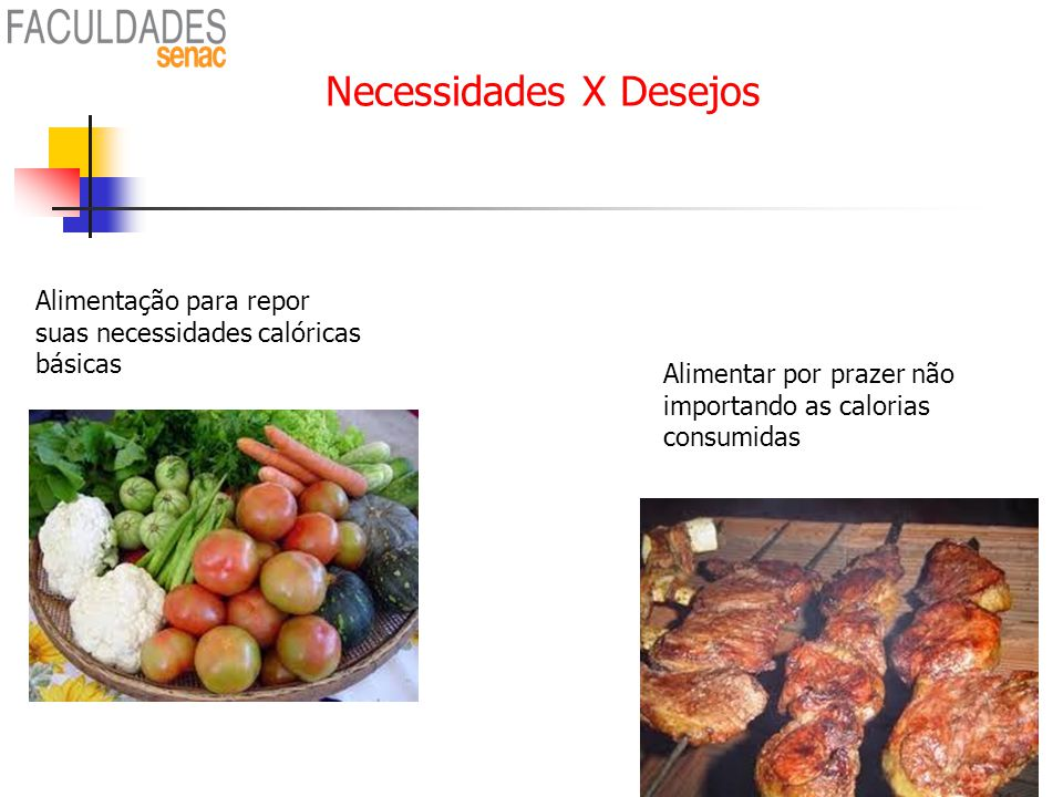 Necessidades X Desejos Alimentar por prazer não importando as calorias consumidas Alimentação para repor suas necessidades calóricas básicas